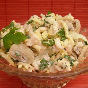 салат с маринованными грибами и мясом рецепт с фото