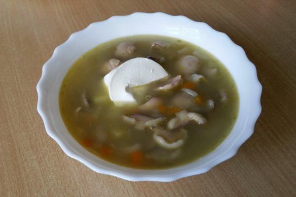 Суп из свежих грибов маслят