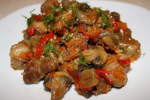 Тушеное мясо с грибами рецепт с фото пошагово