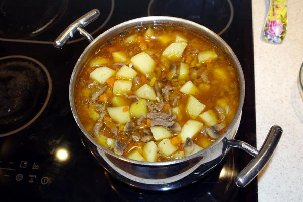картошка тушеная с мясом в духовке