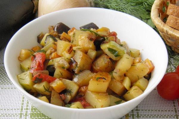 Овощное рагу с баклажанами и кабачками рецепт с фото в мультиварке