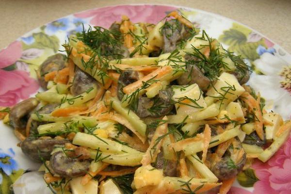 Грибные салаты с шампиньонами: рецепты вкусных закусок