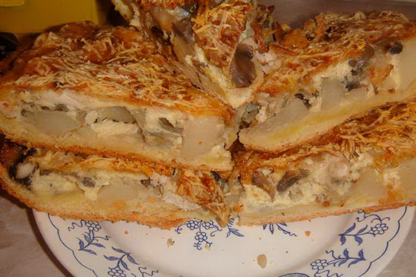 рецепт пирога с курицей и картошкой из дрожжевого теста рецепт с фото