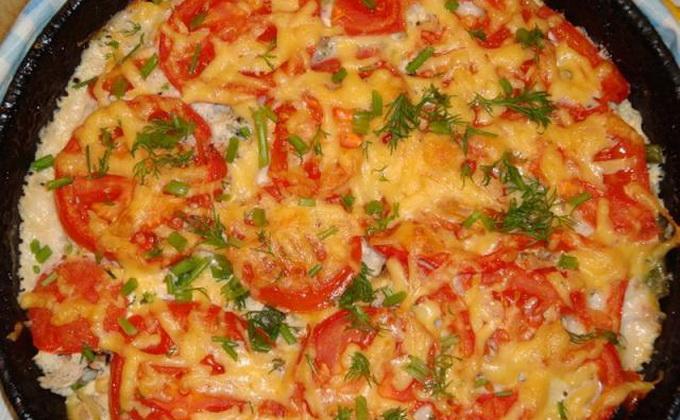 Картофель с помидорами и курицей в духовке рецепт пошагово