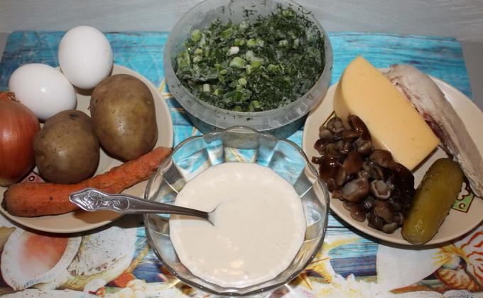 Салат «Лесная поляна» с опятами: рецепты приготовления