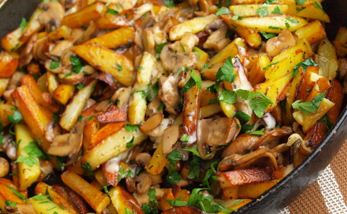 Вешенки жареные с картошкой  пошаговый рецепт с фото на