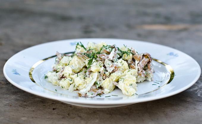 рецепты салата с маринованными гриб