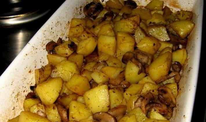 картошка с шампиньонами в духовке рецепт с фото