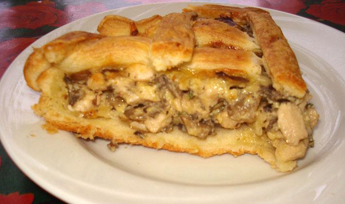 Рецепт пирога из слоеного теста с грибами