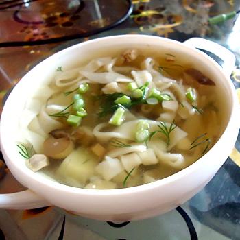 суп из замороженных белых грибов с вермишелью рецепт