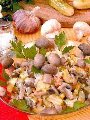 Салат шампиньоны яйца лук