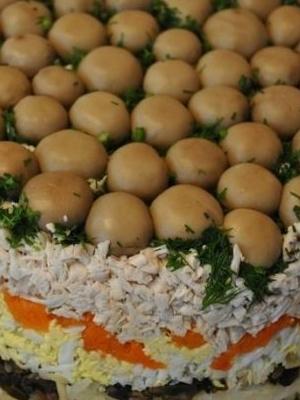 Грибные салаты с шампиньонами и огурцами