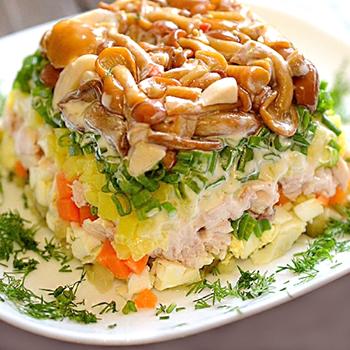 лесная поляна салат с опятами