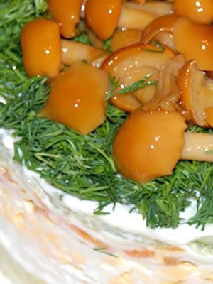 Рецепты приготовления салата «Грибная поляна» с опятами