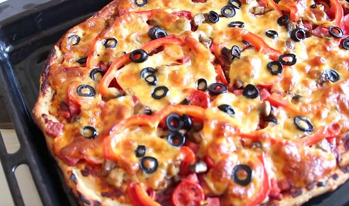 Рецепты пиццы с грибами и колбасой в домашних условиях