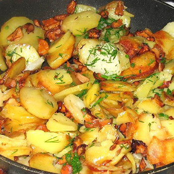 как пожарить лисички с картошкой на сковороде рецепт