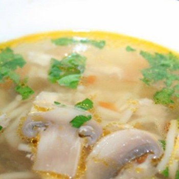 Грибные супы из шампиньонов на мясном и овощном бульоне