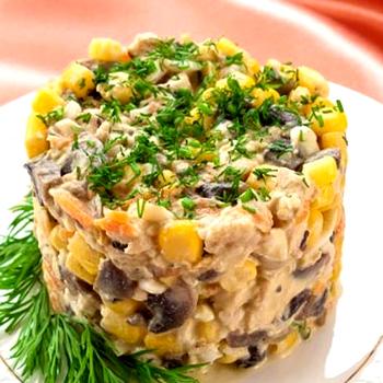 салат с шампиньонами консервированными резаными