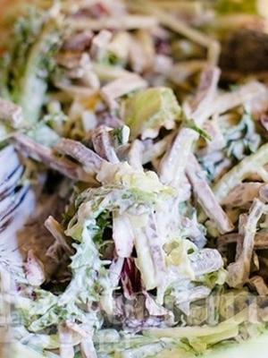Праздничные салаты с шампиньонами и языком