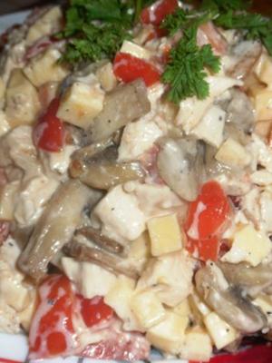 Рецепты вкусных салатов с шампиньонами и сладким перцем