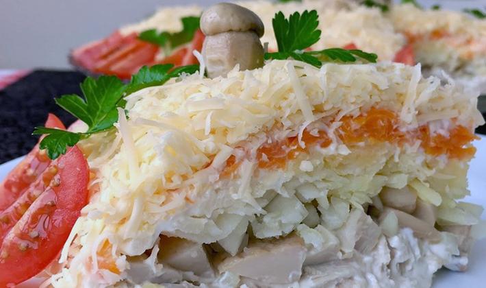 Слоёные салаты с шампиньонами: оригинальные рецепты