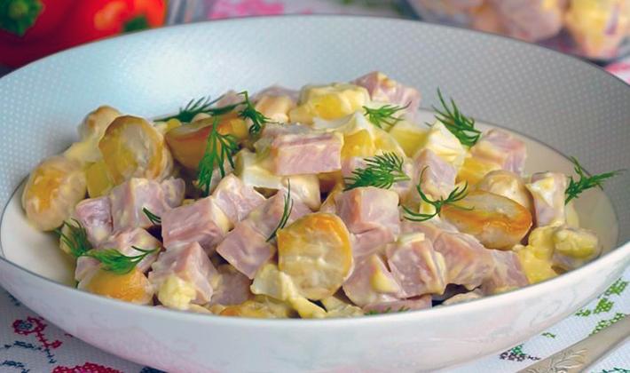 Салаты с жареными шампиньонами: пошаговые рецепты