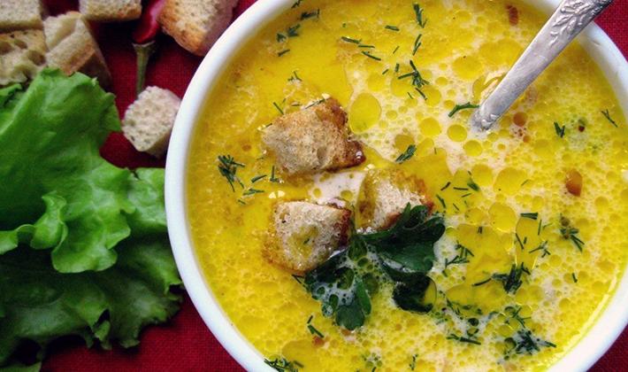 Сытные супы из шампиньонов с сыром